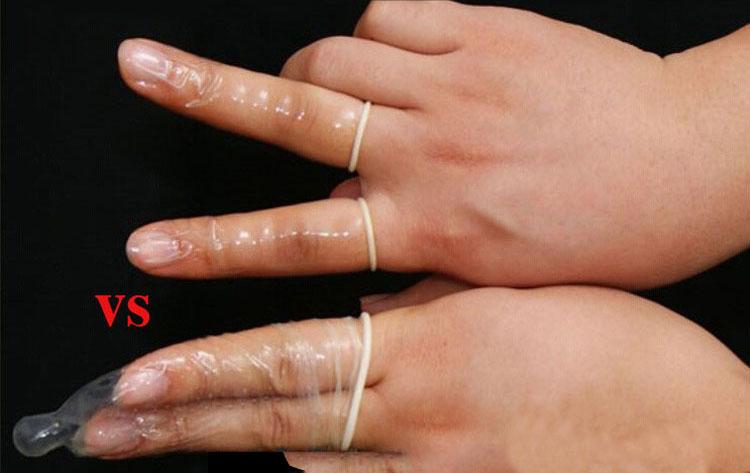 bao cao su ngón tay sự khác lạ bao cao su thường